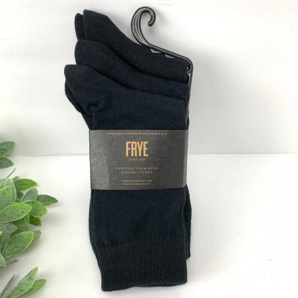 Frye Everyday Crew Socks Black Three Pairs Cotton